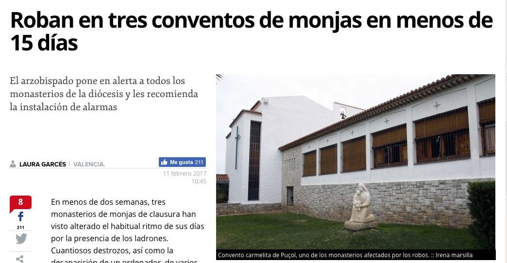 Roban en tres conventos de monjas en menos de 15 días